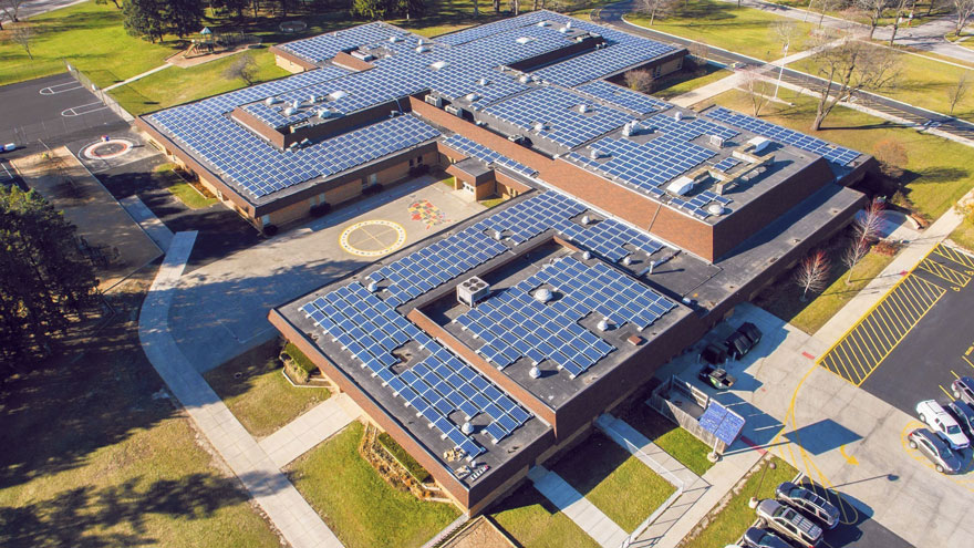 A school with solar panels